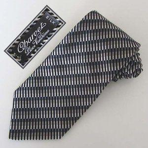 CHARVET blk/grey striped jacquard silk tie France